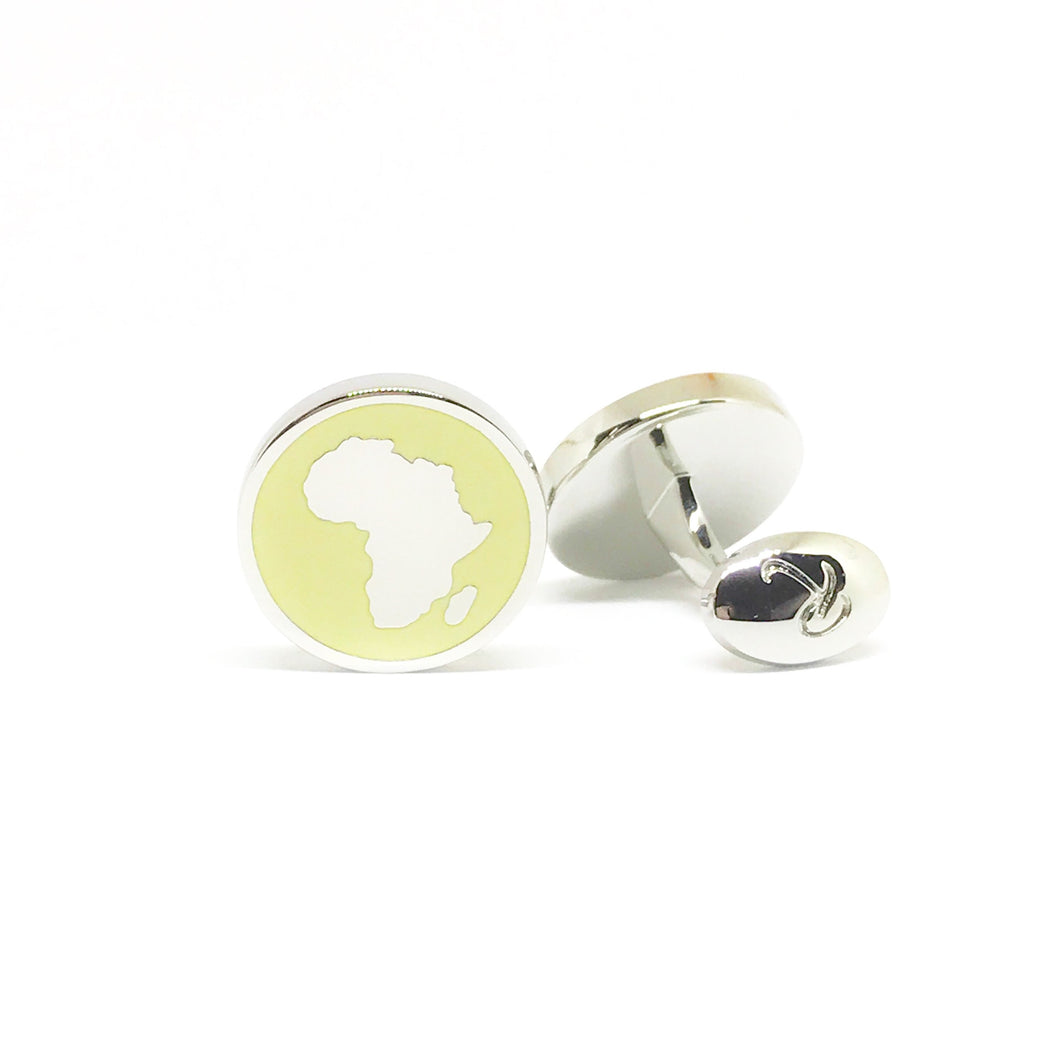 Africa Silver Cufflinks - Lemon Yellow - Reddendi