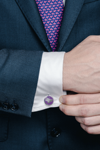 Middle East Silver Cufflinks - Purple