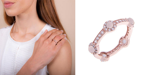 H.AZEEM London | Rose Gold Rose Quartz Stacking Stone Ring
