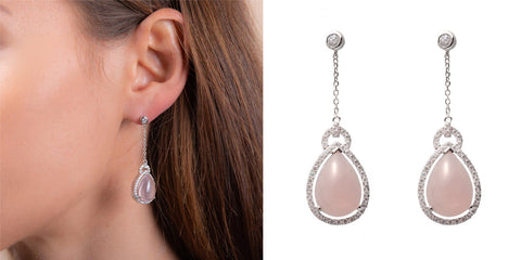 Pear Drop Rose Quartz Earrings