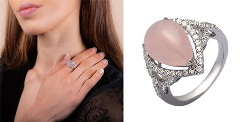 Pear Drop Rose Quartz Ring