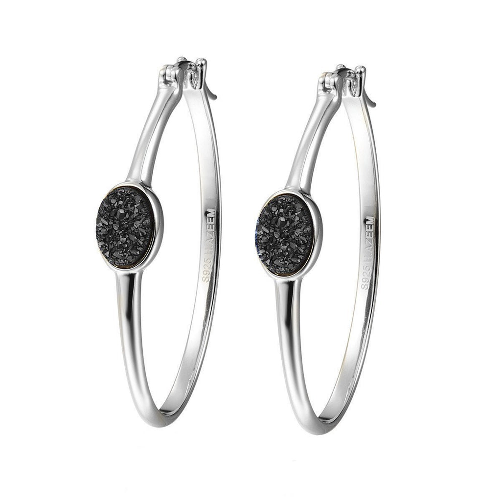 Elara's Black Silver Hoops - H.AZEEM London
