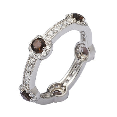 Silver Smoky Quartz Stacking Stone Ring