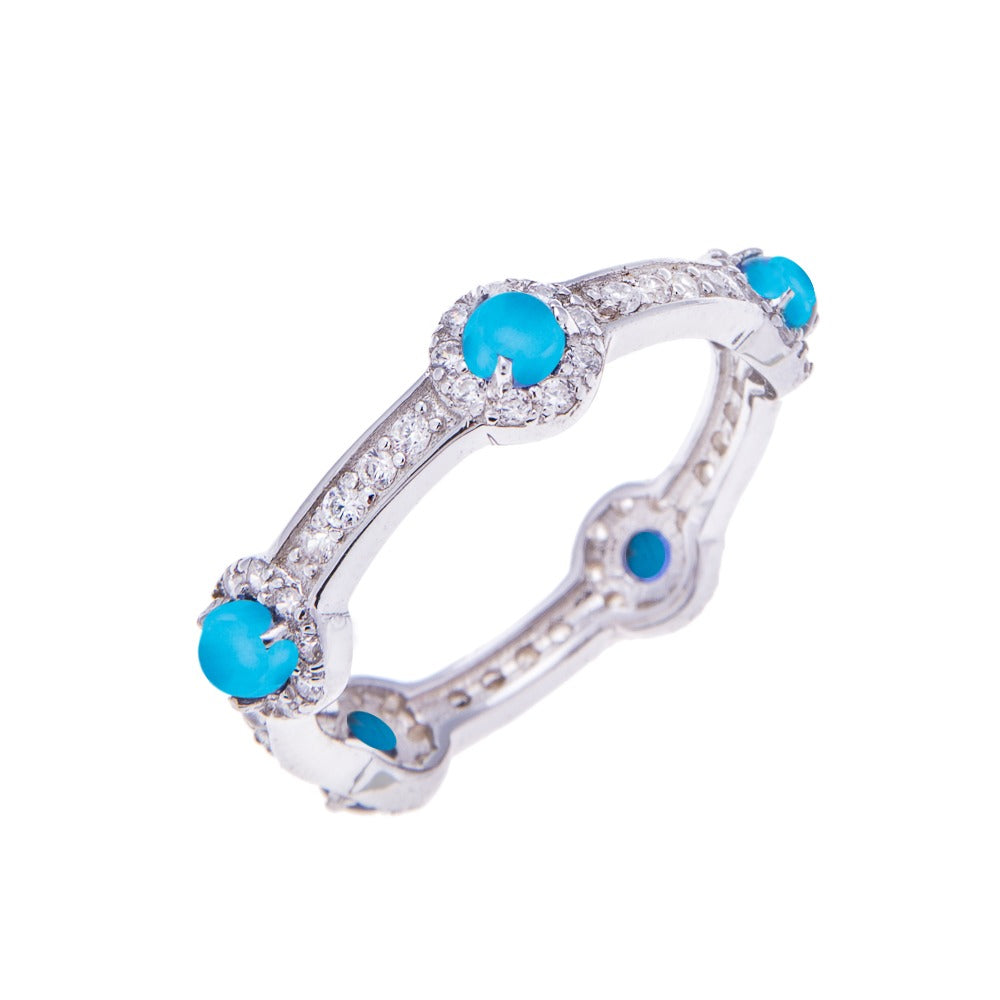 Turquoise Silver Stacking Stone Ring - H.AZEEM London