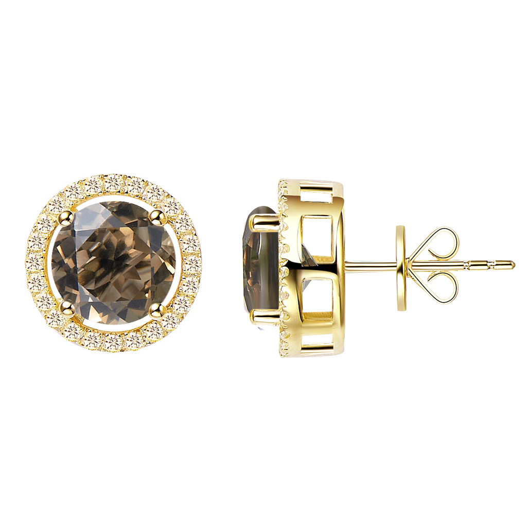 Royal Gold Smoky Quartz Earrings - H.AZEEM London