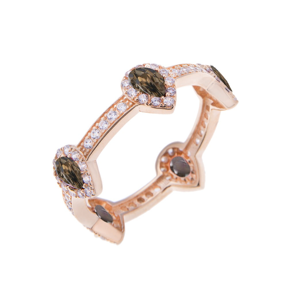 Pear Drop Smoky Quartz Gold Stacking Ring - H.AZEEM London