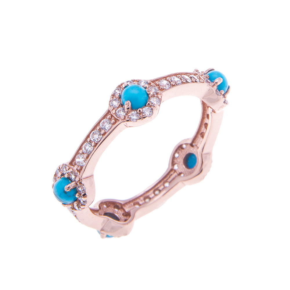 Rose Gold Turquoise Stacking Stone Ring - H.AZEEM London