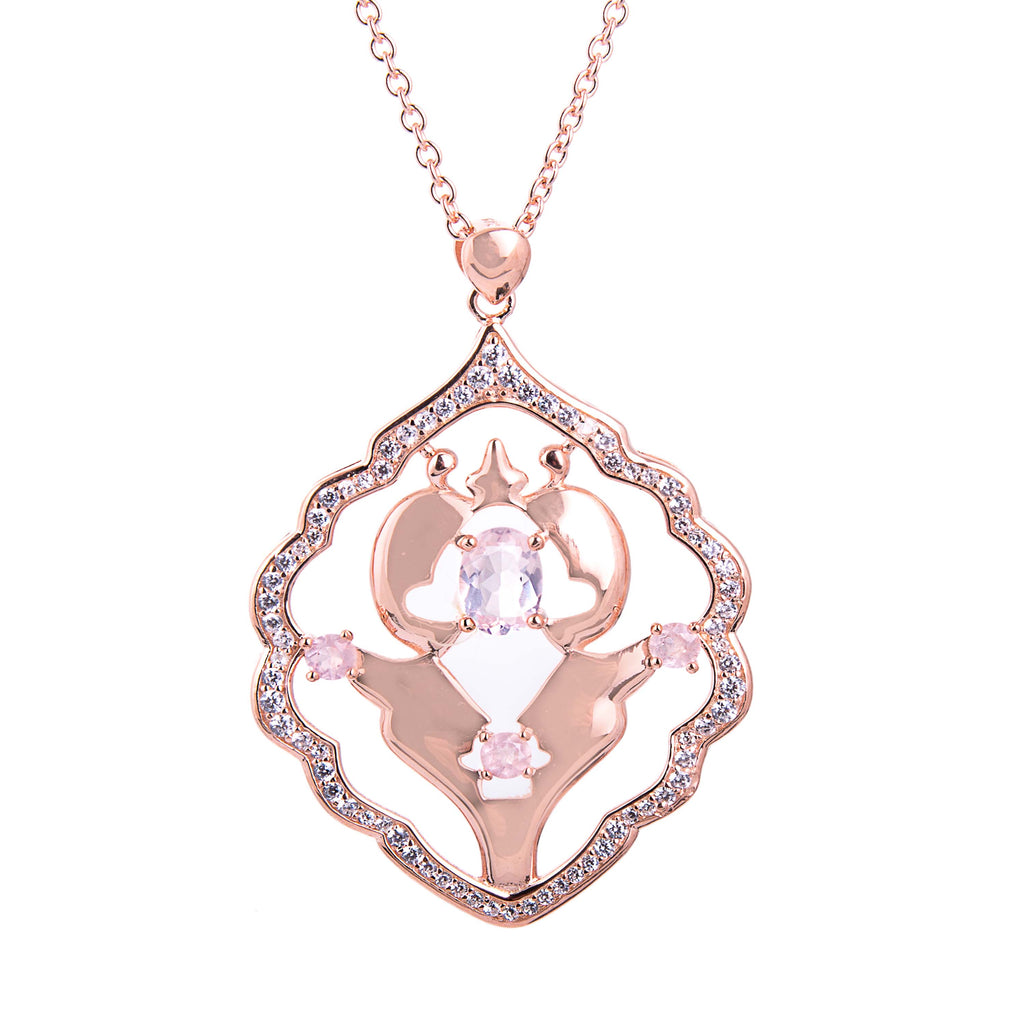 Iznik Rose Gold Rose Quartz Necklace - H.AZEEM London