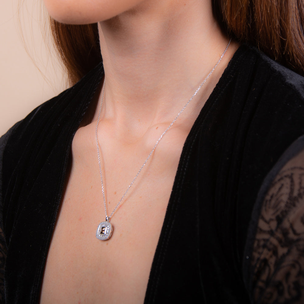 Sakura's Moon Smoky Quartz Necklace - H.AZEEM London