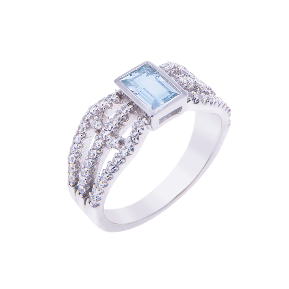 Sakura's Blue Topaz Fan Ring