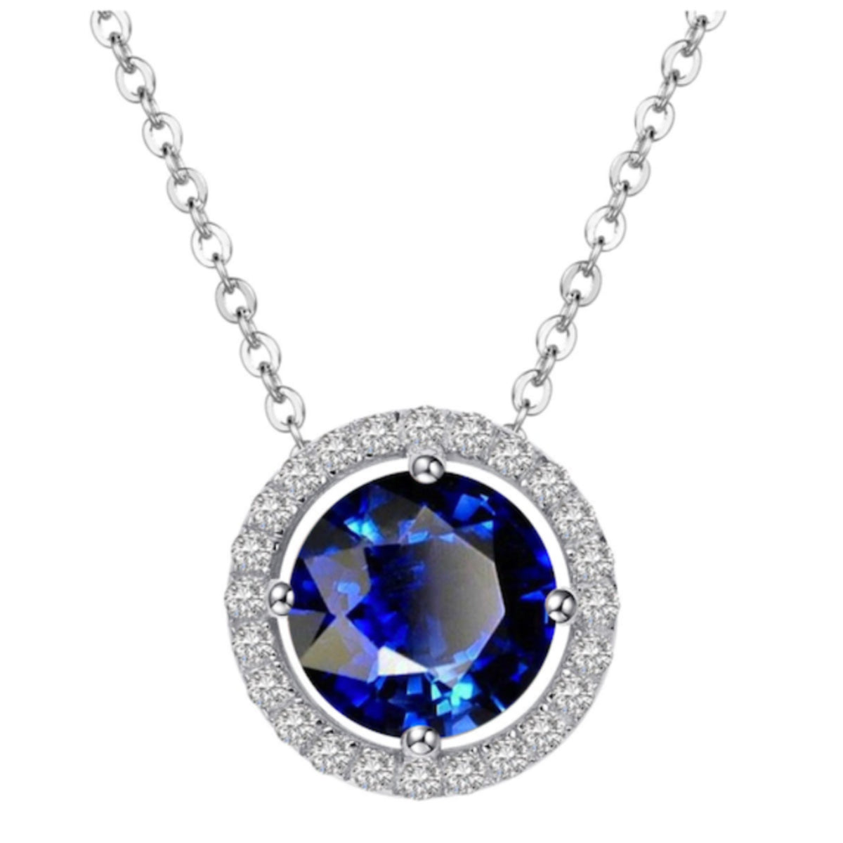 Royal Silver Sapphire Necklace