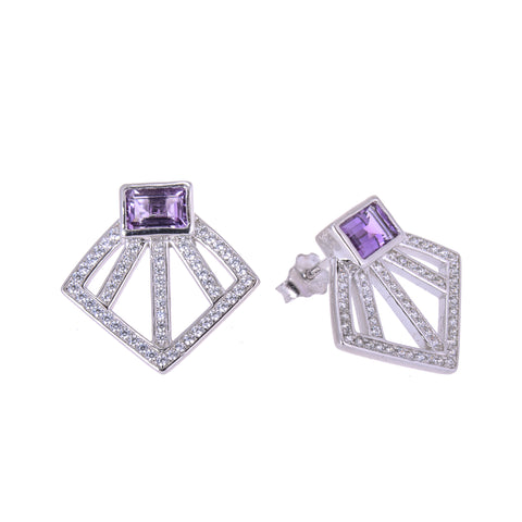 Sakura's Amethyst Fan Earrings - H.AZEEM London
