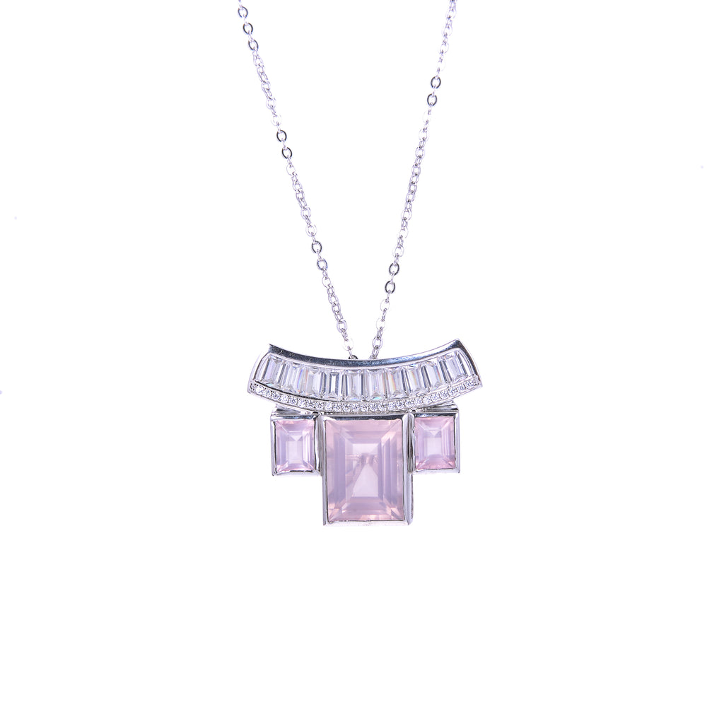 Sakura's Rose Quartz Bridge Pendant - H.AZEEM London