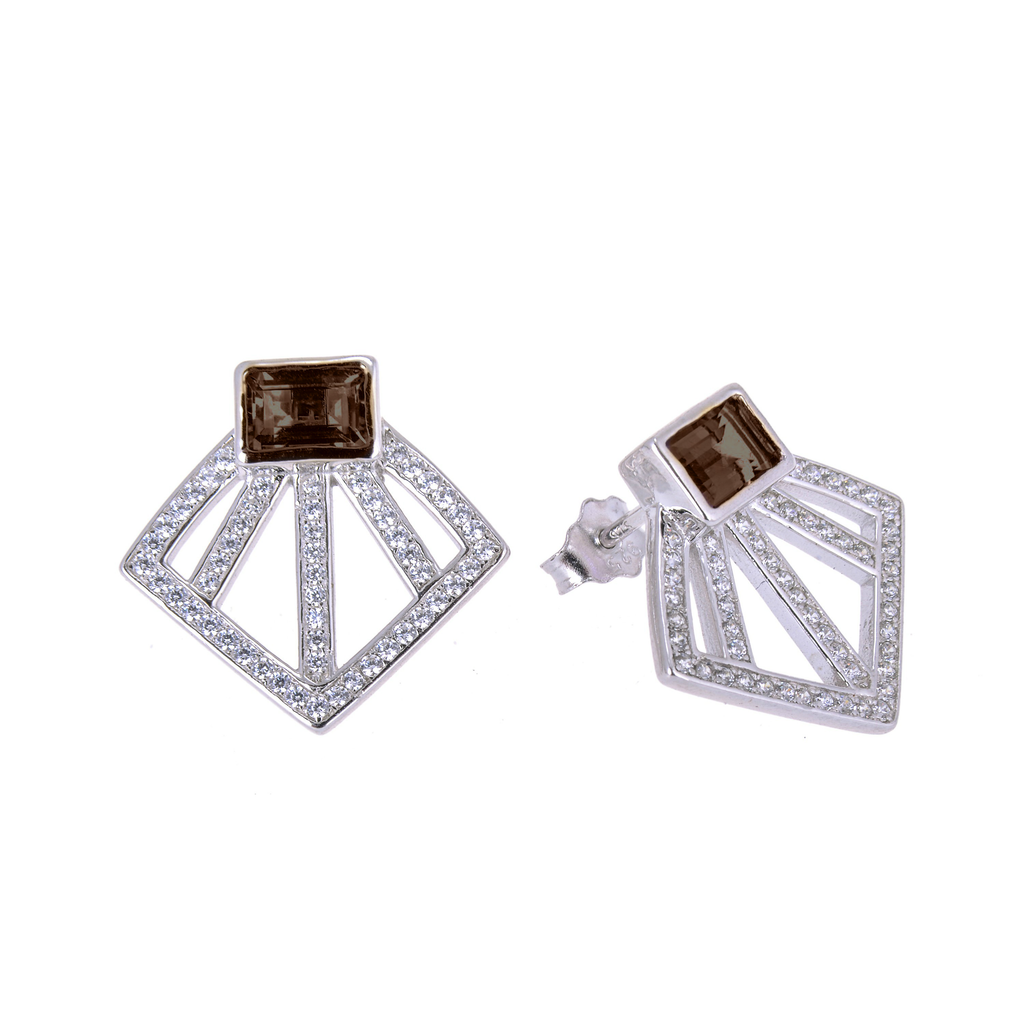 Sakura's Fan Smoky Quartz Earrings - H.AZEEM London