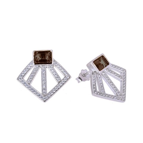Sakura's Smoky Quartz Fan Earrings - H.AZEEM London