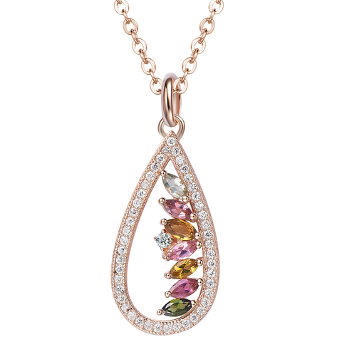 Tourmaline Rose Gold Empress Necklace