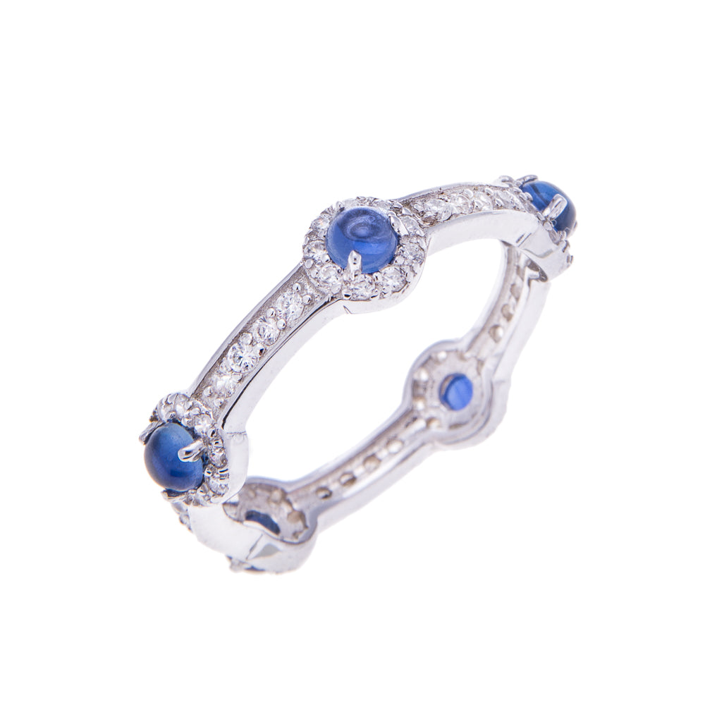 Sapphire Silver Stacking Stone Ring - H.AZEEM London