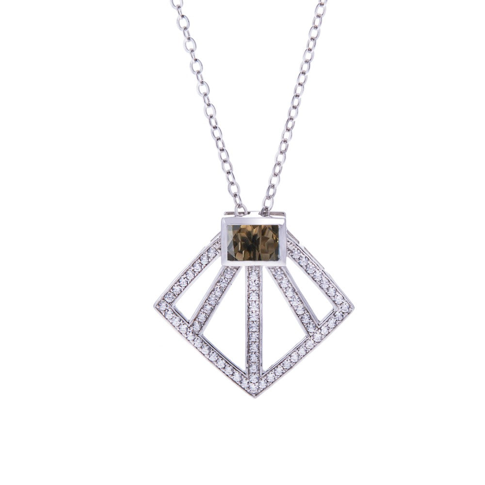 Sakura's Fan Smoky Quartz Necklace - H.AZEEM London