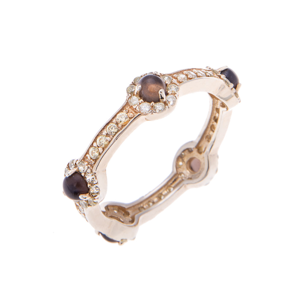 Smoky Quartz Gold Stacking Stone Ring - H.AZEEM London