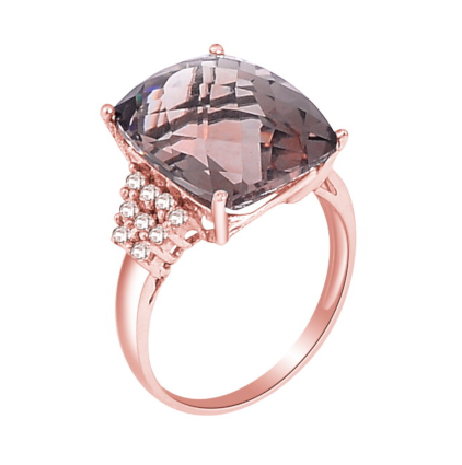 Smoky Quartz Rose Gold Ring - H.AZEEM London