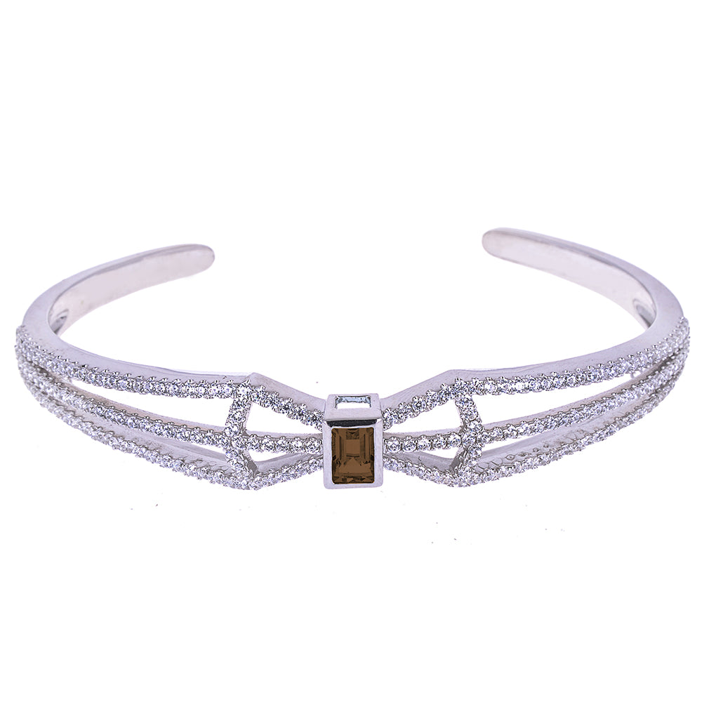 Sakura's Fan Smoky Quartz Bangle - H.AZEEM London