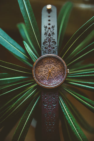Engraved Wood Wrist Watch King Mandala