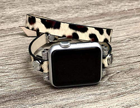 Leopard Print Double Wrap 38mm And Up Vegan Leather Apple Watch Band By Simeon D Jewelry