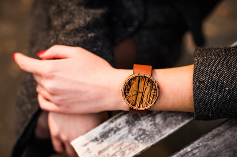 Ovi Wooden Watch Zebrano Colors