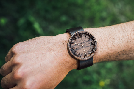 walnut wood watch for men with 3d engraved dial