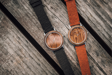 wood watch with vegan black brown leather strap