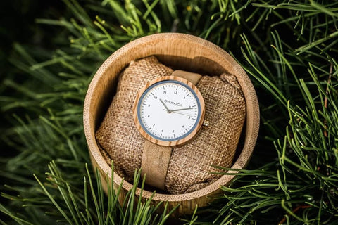 Wooden watch with vegan leather strap