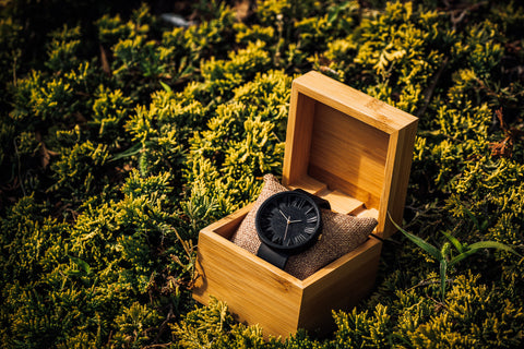 Black Wooden Wrist Watch gift for husband