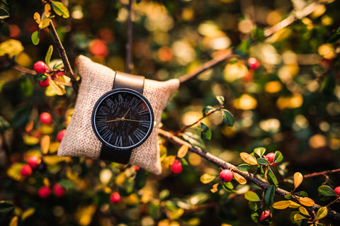 Ovi Wooden Watch Black Prunus With Gift Box