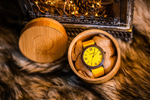 Ovi Wooden Watch Flavus With Gift Box