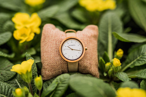 Maple Wood Watch with Beige Vegan leather band women