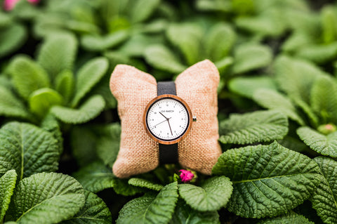 Ovi Stainless Steel and Walnut Wood Watch Evelyn