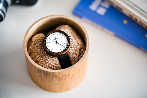 Ovi Wooden Wrist Watch Evelyn With Sustainable Vegan Leather, Snow-White Dial and High Precision Japanese Quartz Movement