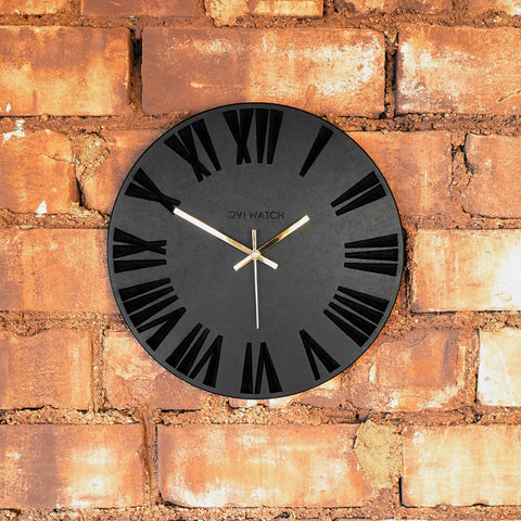 Black Wooden Wall Clock Engraved