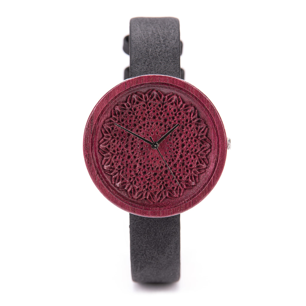 Purple - Wooden Watch with Black Vegan Strap for Women