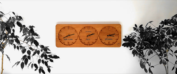 Three Time Zone Wall Clock made by Ovi Watch