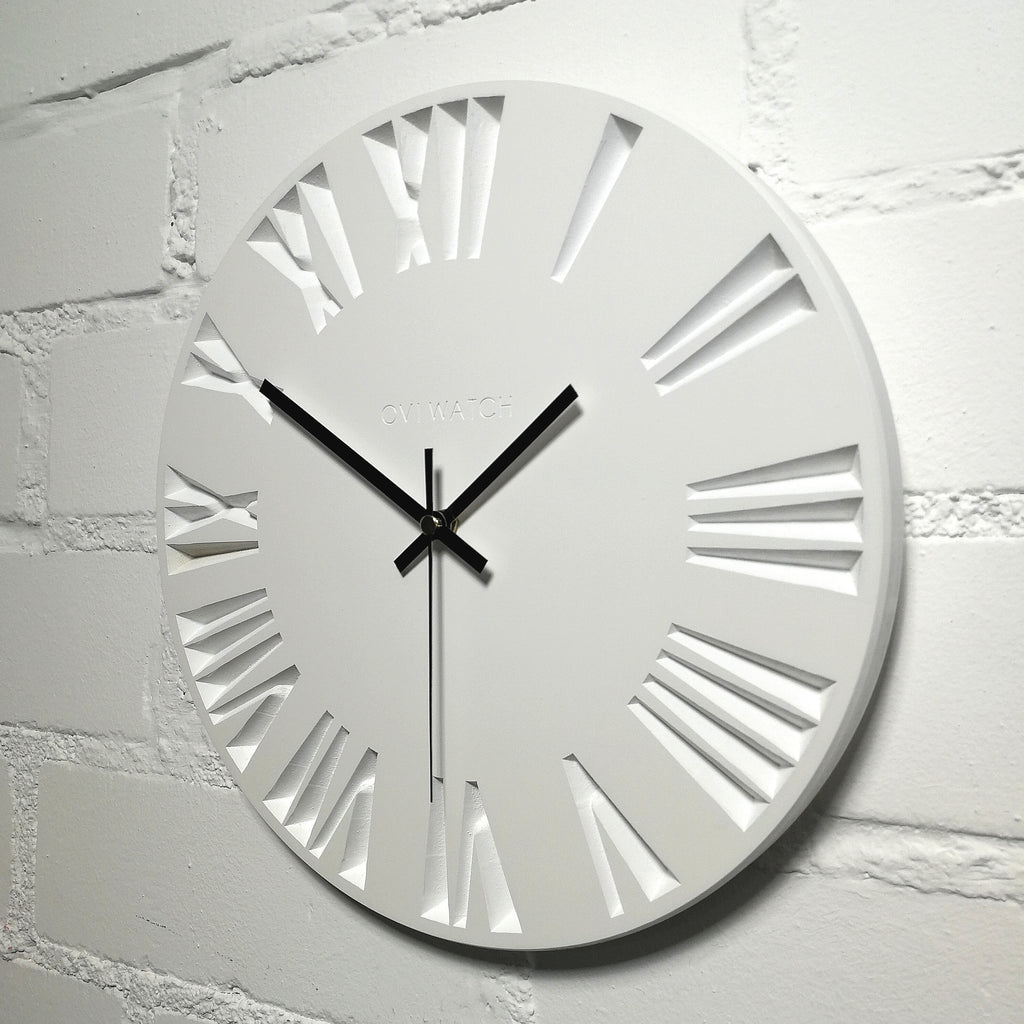 White Wooden Wall Clock - Ovi Watch