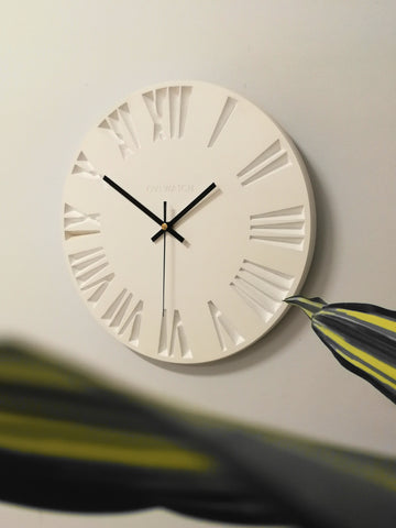 White Wooden Wall Clock Engraved