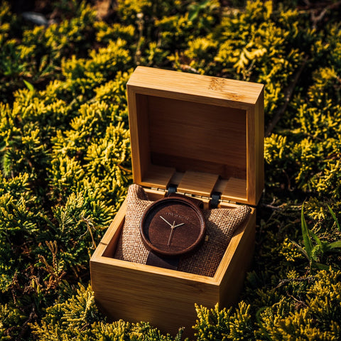All Wood Watch made of walnut comes in pine wood gift box brown color with leather strap