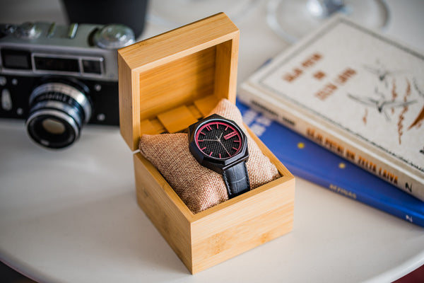 mens black wood watch with wooden pine gift box elegant leahter strap and purple dial