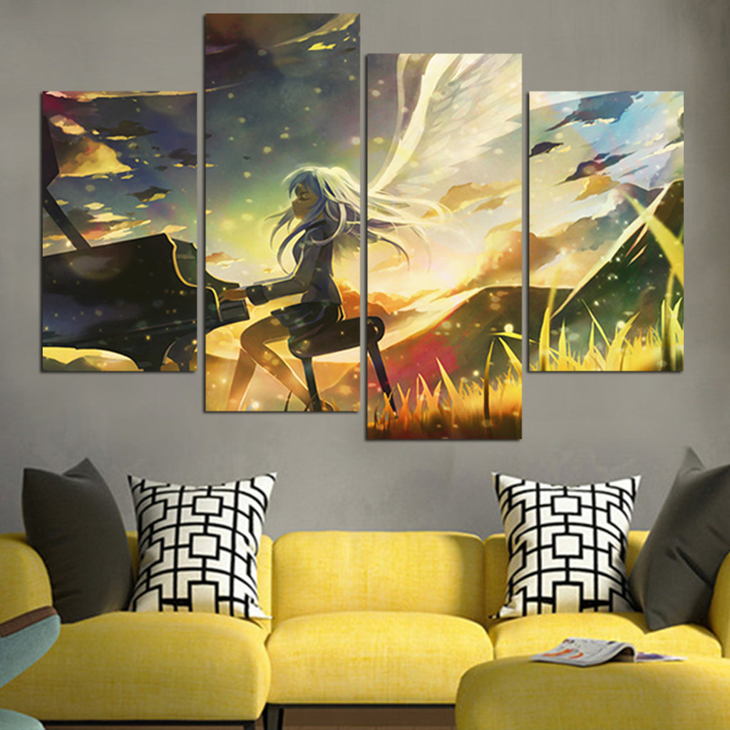 Angel Beats Kanade Playing Piano Wall Art Canvas – Anime Hacks