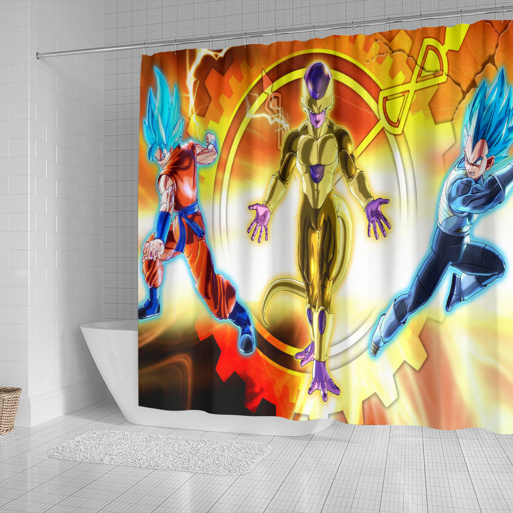 Dragon Ball Z Goku Vegeta Vs Frieza Shower Curtain