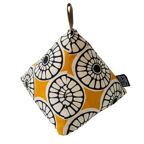 Doorstop Senegal </br> Turmeric CB & Black CB on Linen
