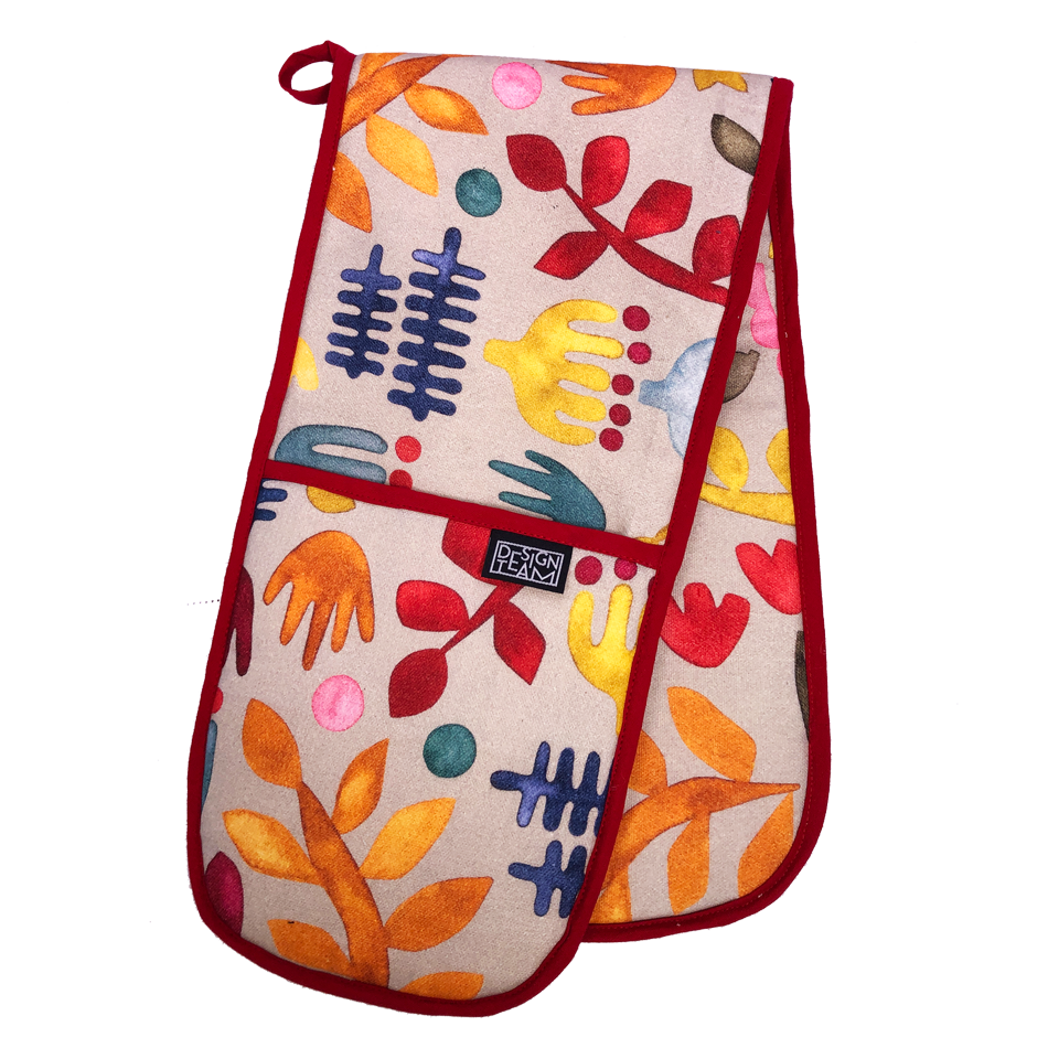 Kukua oven glove</br> Multi Colour with Red Binding