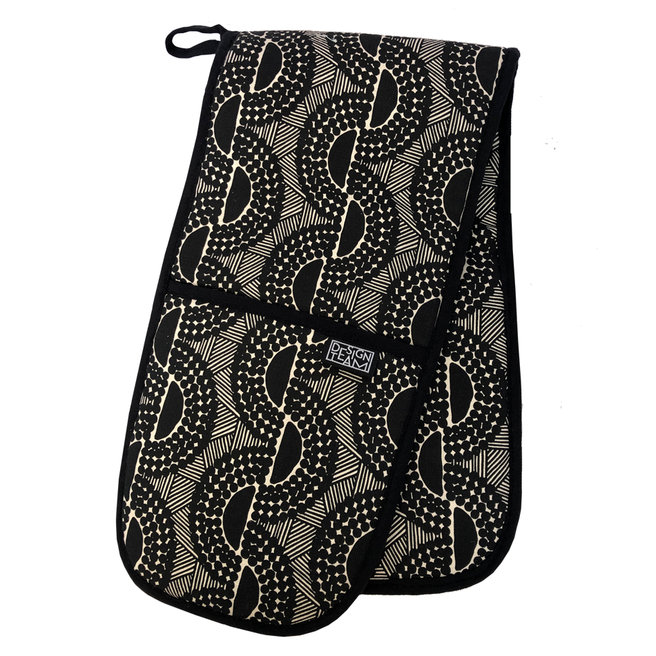 Peppercorn oven glove</br> Black with Black Binding