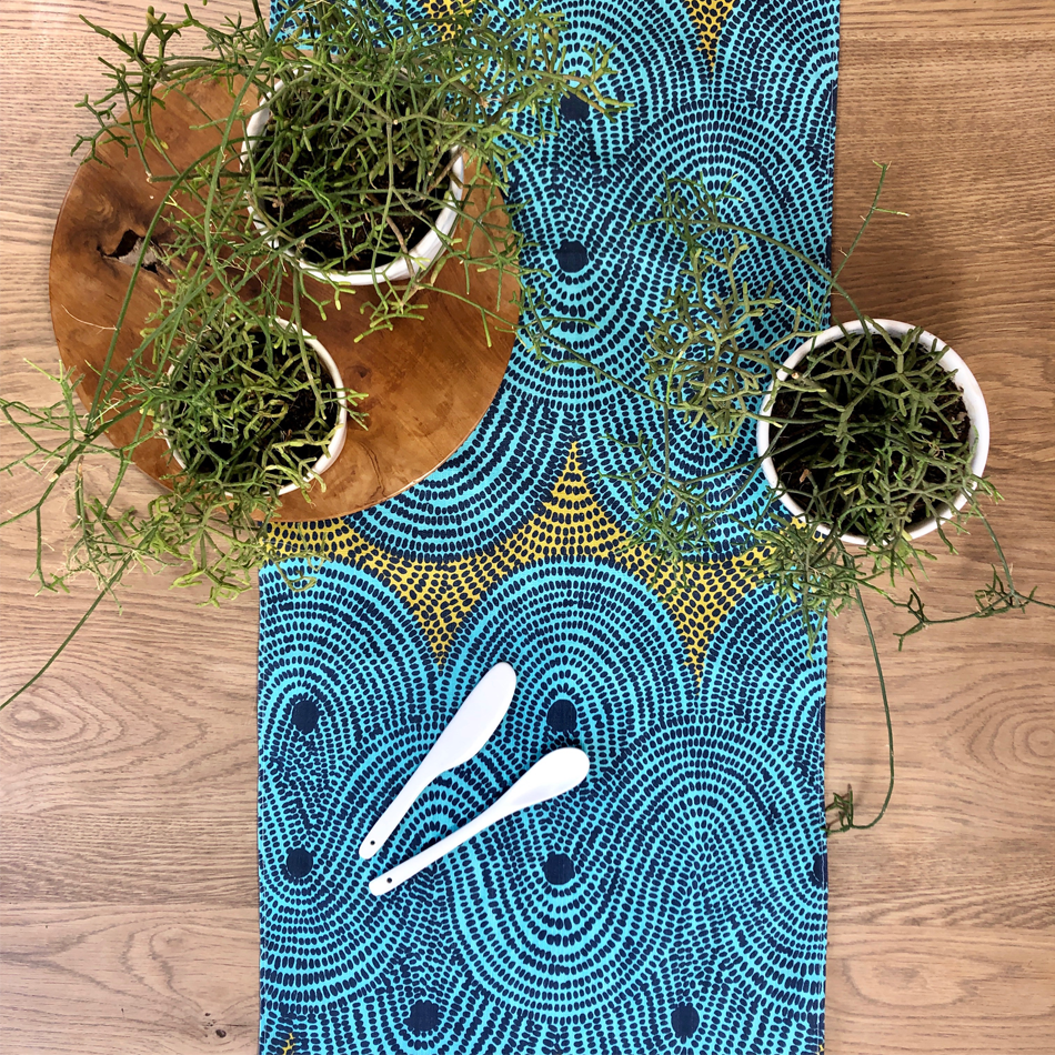 Table runner Crop Field </br> Aqua